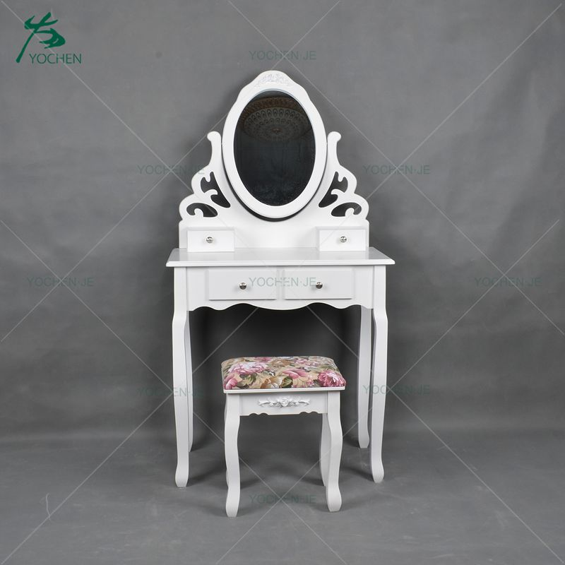 Shabby chic metal wood dressing table with mirror