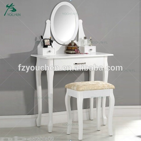 Cheap simple white MDF dressing table 70cm with drawer