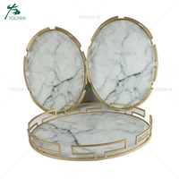 Decorative Round Marble Metal Table Top Serving Tray