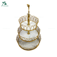 Wedding gold frame metal food serving tray 3 Tier Tray Stand