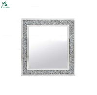 Home Decoration Mirrored Diamond Crush Wall Mirror (60x60cm)