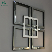 Glass Framed Large Square Decorative Silver Wall Mirror