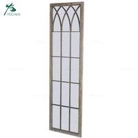 iron frame outdoor decorative wood wall window mirror