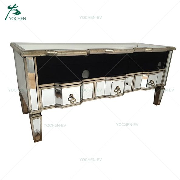 Mirrored tv stand diamond crush crystal tv unit tv table