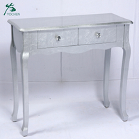 modern french shining silver color wood drawer table