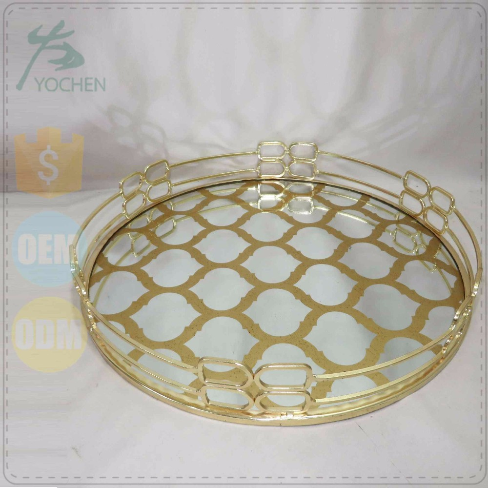 Table Centerpieces Gold-hued Metal Mirrored Glass Tray