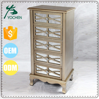 5 Drawer Mirrored Wooden Storage Cabinet