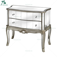 Champagne Silver Mirrored Glass Chest of 2 Drawer Living Room Cabinet