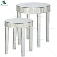 Set of 2 Holly Round Mirrored Nesting Coffee Tables