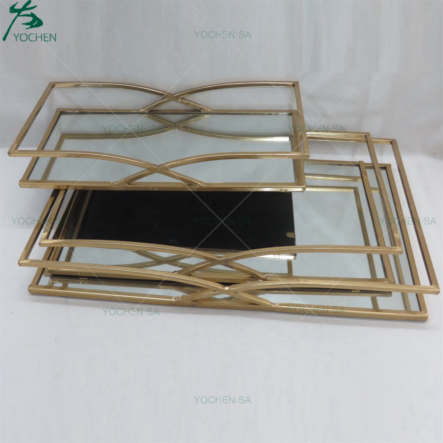 Antique Gold Metal Mirrored Plated Tray for Houseware