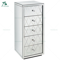 Diamond Tall Mirrored Wooden 5 Drawer Chest
