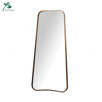 Antique Bronze Curved Edge Standing Floor Large Metal Mirror