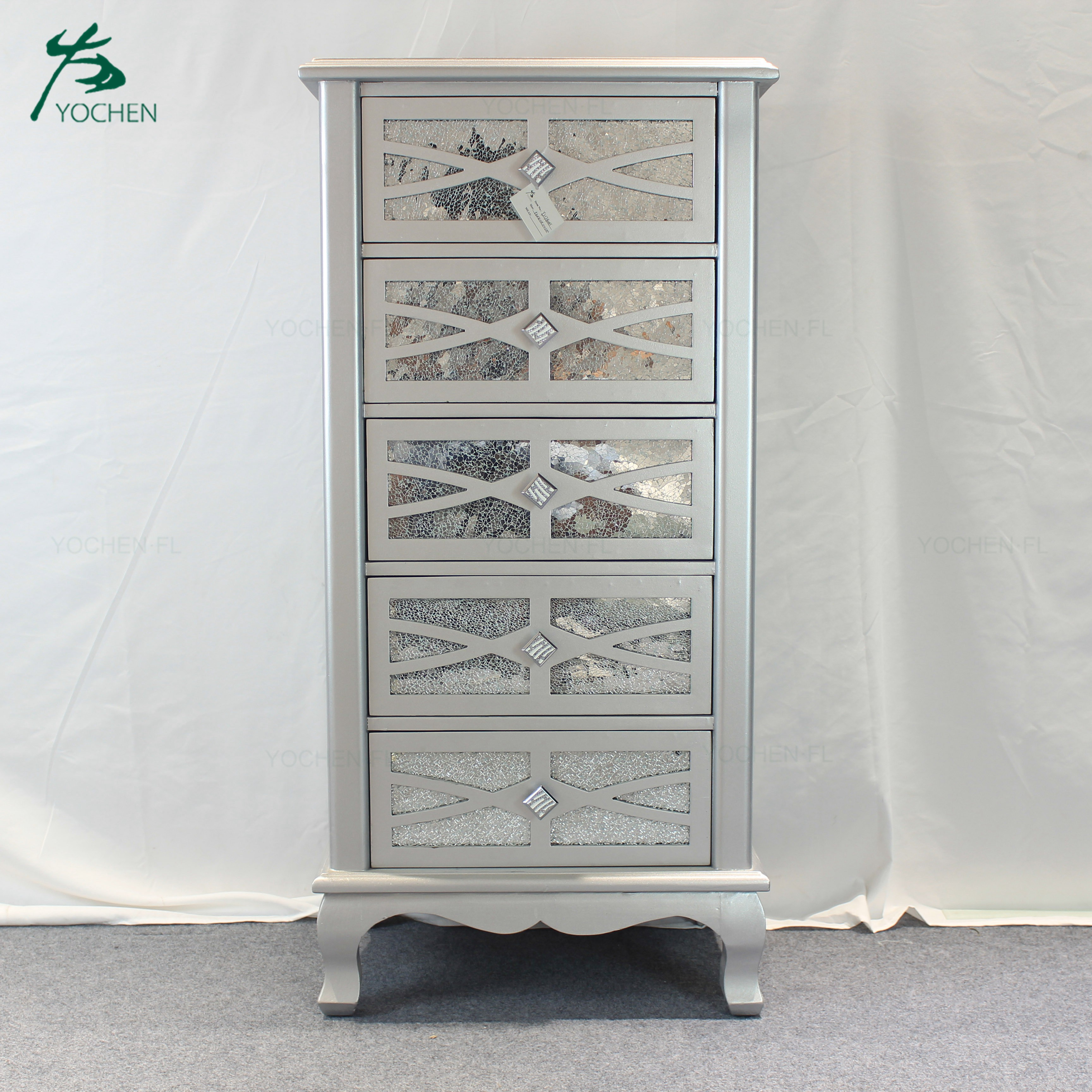 Nice carved mirrored wooden cabinet designs for living room