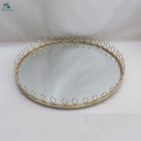 Round Loop Mirror Tray Round Metal Mirrored Tray In Gold