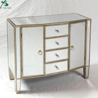 Silver Mirrored Chest With Drawer For Living Room Furniture
