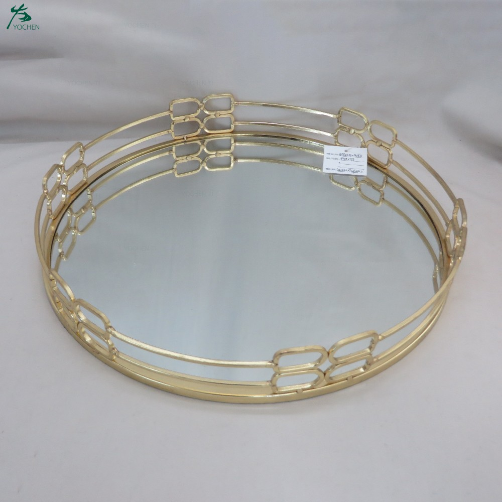 Wholesale Deco Round Mirror Tray Antique Mirrored Tray