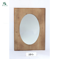 Wood Framed Wall Mirror in Rectangle Shape