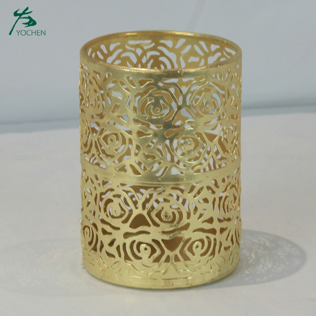Tealight holder home antique gold round candle holder