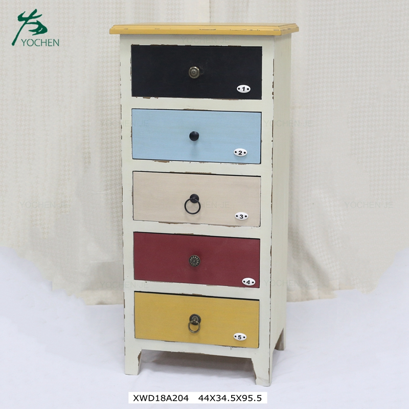 5 Drawer Multicoloured Shabby Chic Tallboy Chest Furniture