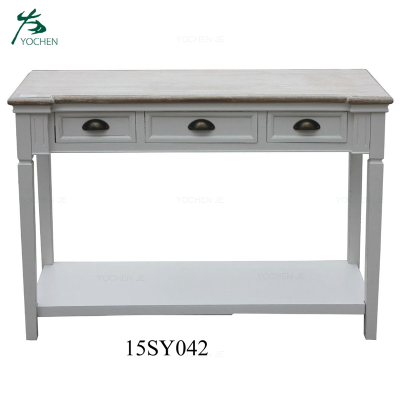 Antique luxury white wood hallway console table