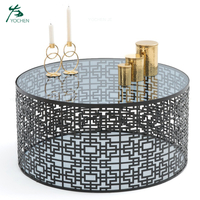 tempered glass metal round luxury modern coffee table