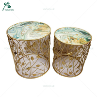 Living room furniture antique gold round coffee table modern design
