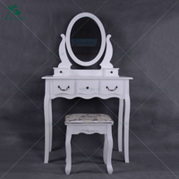 Vanity White Wood Mirror Dressing Table Designs With Drawer