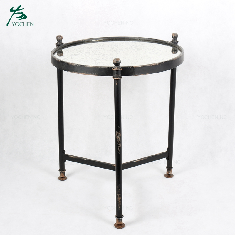 Antique rustic metal round decorative wall mirror for living room