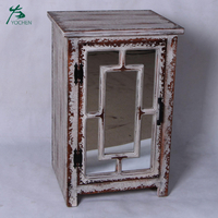 shabby chic style one door wood living room mirror cabinet