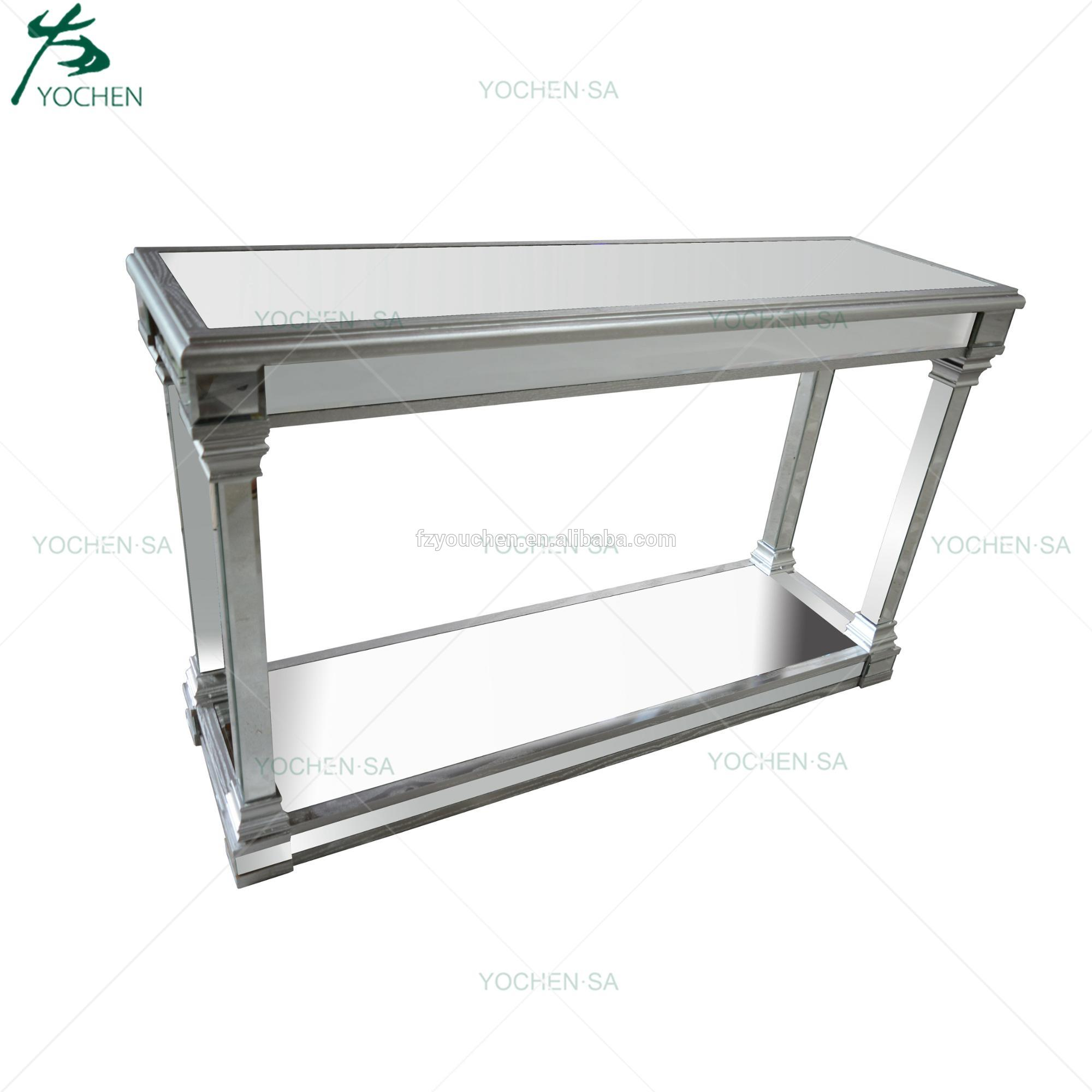 Mirrored Silver Trim Console Table Mirror Furniture with One Shelf