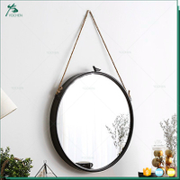 Norhs loft style vintage round metal framed decorative decorative wall mirror