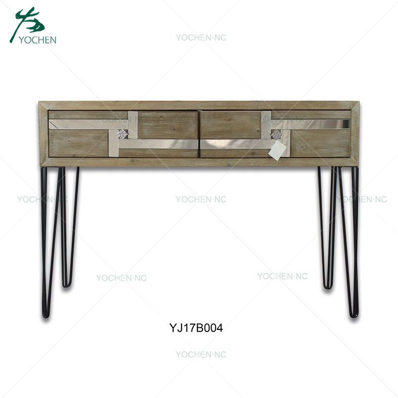 hair pin metal leg modern mirrored furniture wood console table