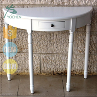 European Design White Color Half Moon Wooden Corner Table