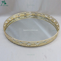 Ornament Round Metal Mirrored Tray Gold