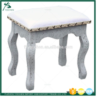 Silver Vintage Dressing Table Stool Piano Chair Padded Makeup Seat