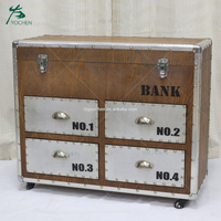 vintage furniture with metal panel decoration wooden buffet