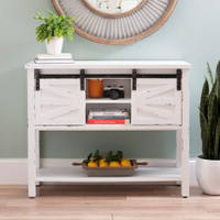 living room sliding door farmhouse wood console table