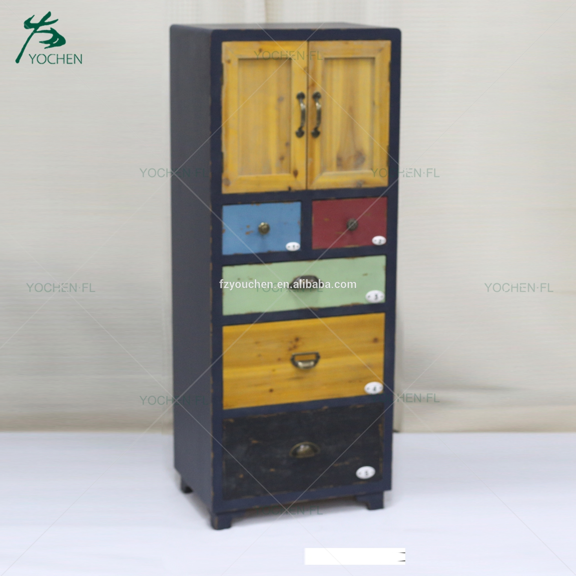 living room antique decorative narrow wood cabinet small drawer