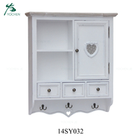 Small solid wood kitchen white color wall hanging cabinet