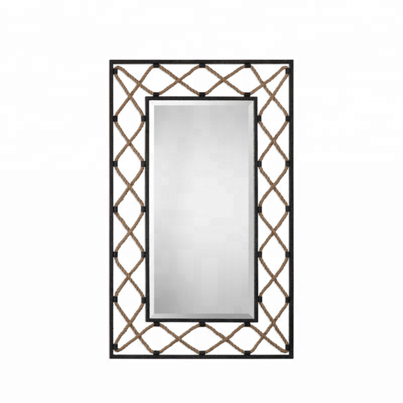 Ornate Antique Metal Frame Rectangle Wall Mirror