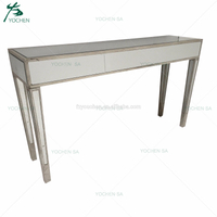 Antique Silver Wood Modern Furniture Large Console Table with Mirror