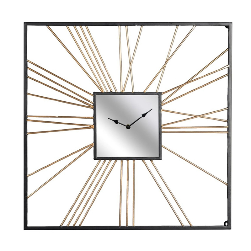 Modern Square Wall Art Antique Gold Metal Wall Clock