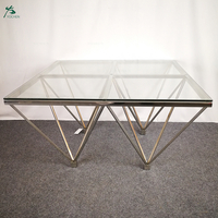 Living home glass top stainless steel gold metal frame vintage coffee table