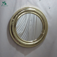 Antique decoration style gloden color round metal wall mirror