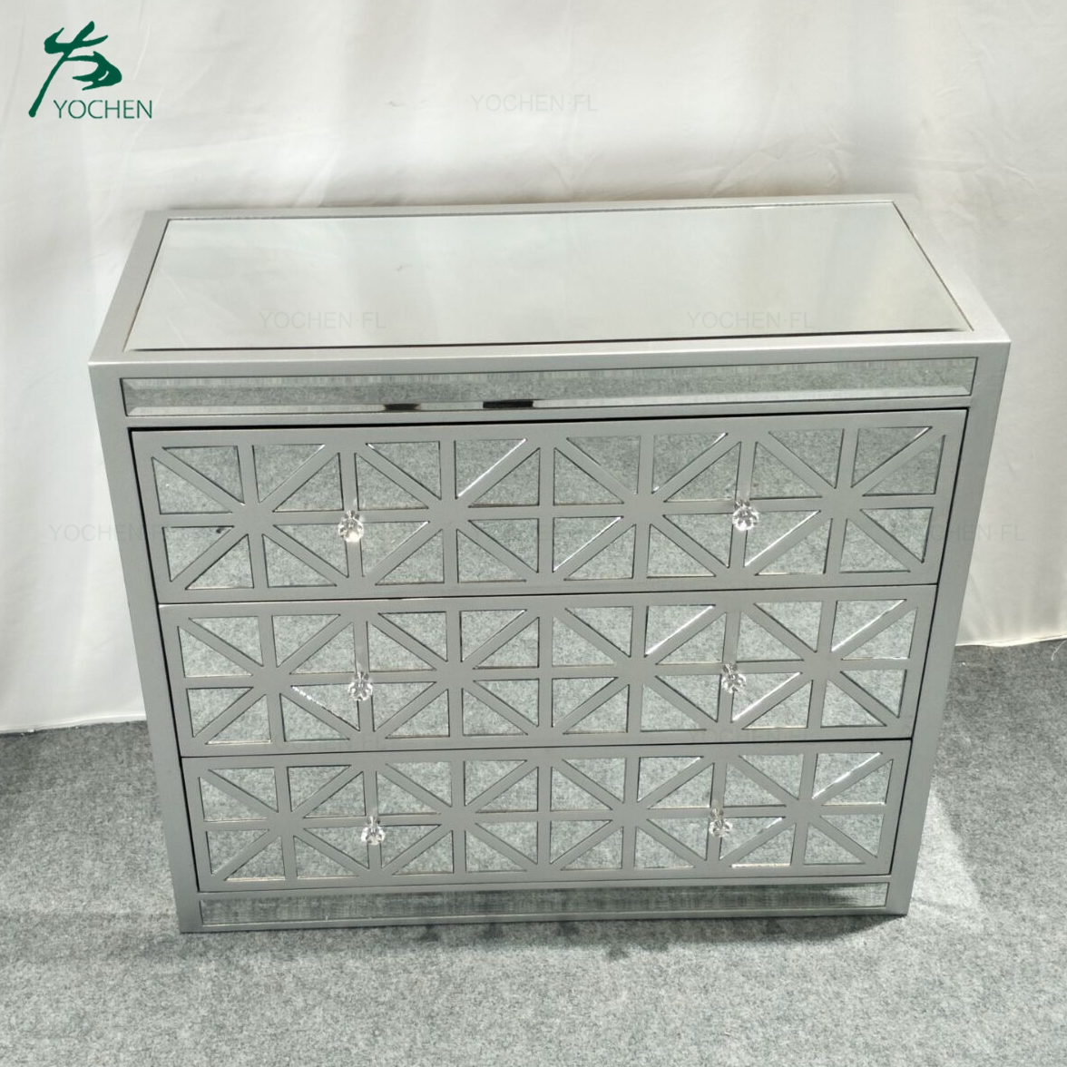 luxury living room furniture decorative crushed mirror cabinet