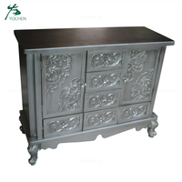 shabby chic dark gray wooden cabinet with drawers