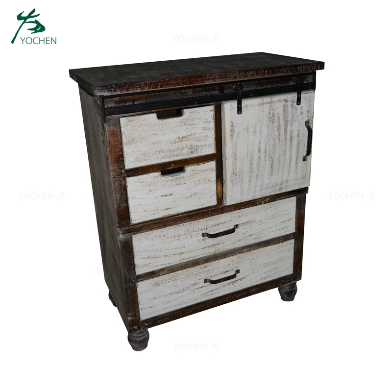 Storage Furniture Living Room Vintage Soild Wood Side Cabinet