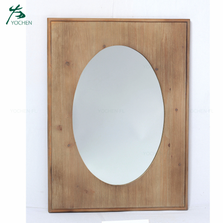 contracted style living room decorative wooden frame mirror