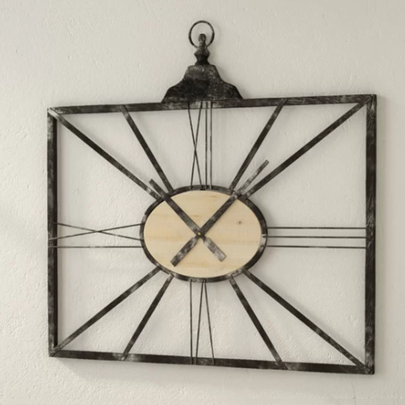Country style metal digital clock home decorative wall clock