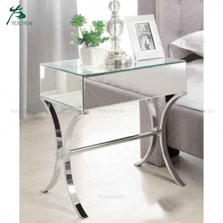 Barcelona style Stainless Steel Leg Mirrored and Chrome Modern Nightstand